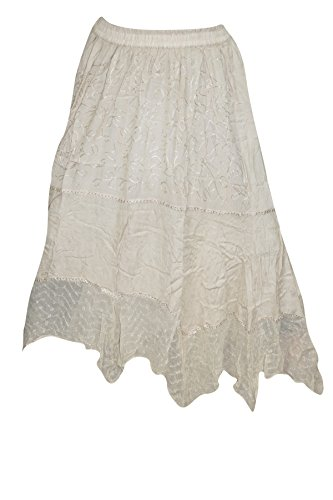 Womens Peasant Boho Chic Skirts Beige A-Line Uneven Hem Gypsy Long Skirt