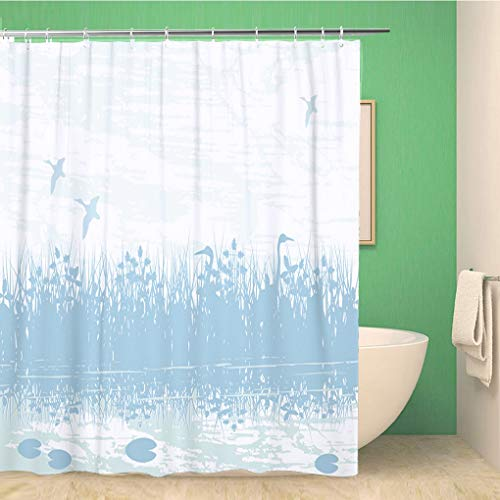 Awowee Bathroom Shower Curtain Blue Duck of Birds in Natural Wetland Swamp Marsh 60x72 inches Waterproof Bath Curtain Set with Hooks