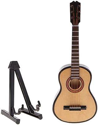 Guitarra de Madera en Miniatura Mini Instrumento Musical Modelo de Guitar con Soporte Estuche - Madera, 18 cm 7.08in: Amazon.es: Instrumentos musicales