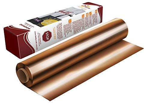 Firefly Craft Elastic Foil Copper Heat Transfer Vinyl | Metallic Copper HTV Vinyl | Copper Foil Iron On Vinyl for Cricut and Silhouette | 5 Feet by 12.25 Roll | Heat Press Vinyl for Shirts