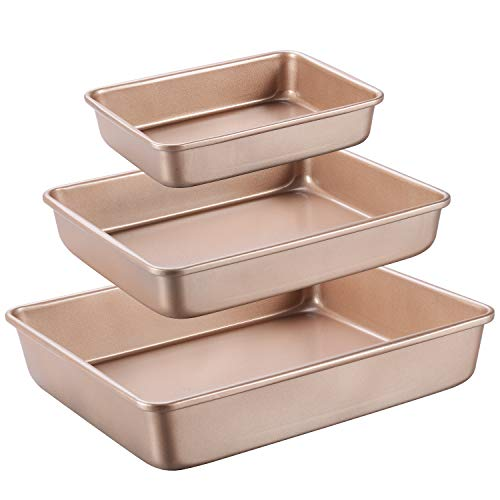 - Joho Cookie Baking Pans Nonstick Set, Professional Baking Sheet Pan Large, Bakeware Rectangular Cake Pan for Oven 3-Piece