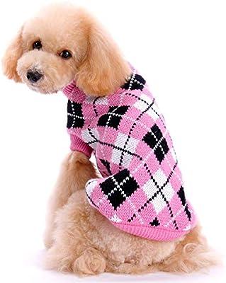 FONLAM Jersey para Perro Cachorro Gato Chaleco Disfraz Ropa Traje Fiesta a Cuadro Mascota Perro (XS, Rosa y Azul Oscuro)