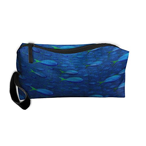 Underwater Blue Fish Pattern Makeup Bag Calico Girl Women Travel Portable Cosmetic Bag Sewing Kit Stationery Bags Feature Storage Pouch Bag Multi-function Bag