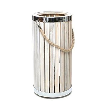 Design Tischlampe Bodenlampe Laterne Holz Metall Tau Lampe