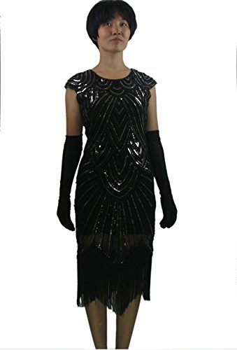 Great Gatsby Roaring 20's 1920 Prohibition Themed NYE Wedding Party Outfit Black