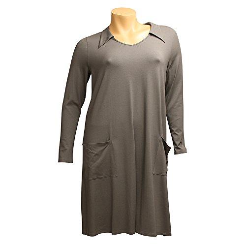 Knielang Grau Hüfttaschen Linie Damen CAROLIN A RICK Kragen Kleid CFwfHn80qx