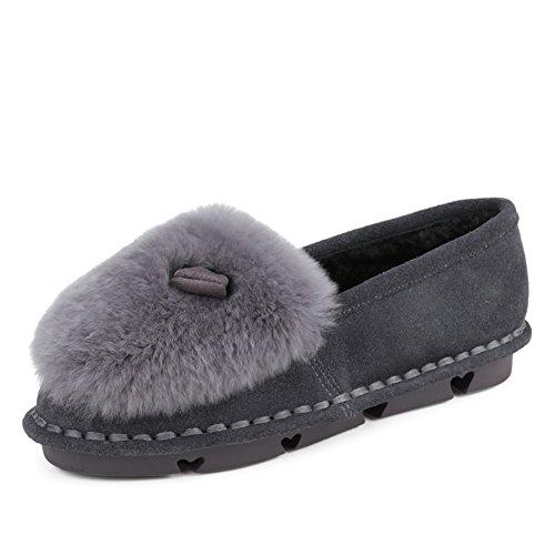 Versión Coreana De Zapatos Piel Pálido En Primavera,Las Mujeres De Piel De Conejo Zapatos Planos De Cuero,Haba Zapatos Planos B
