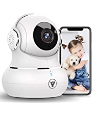 2021 New Little elf Indoor Security Camera, 1080P Pet/Dog Camera, Baby Camera with Night Vision, Motion Detection, 2 Way Audio, 2.4GHz WiFi Camera Dog Camera, Works with Alexa(White)