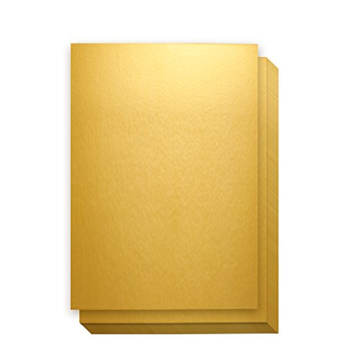 Metallic Gold Papers - 50-Pack Metallic Gold Cardstock, Shimmer Paper for Crafts, Letter Size 250gsm Cardstock, 8.5 x 11 Inches