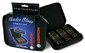 Hohner Hoodoo Blues Harmonica 3-Pack with Case
