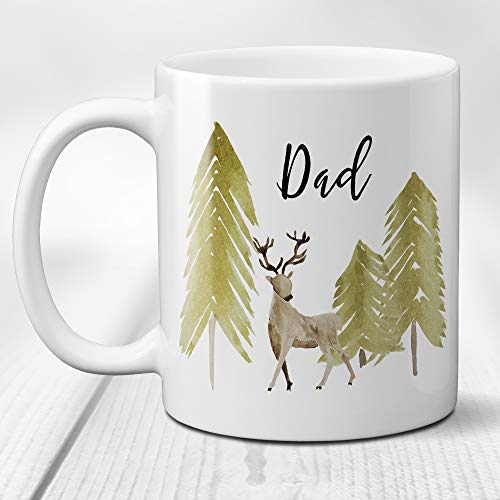 Deer in the Forest Ceramic Coffee Mug Personalized with Script Name or Title 11 or 15 Ounce Cup