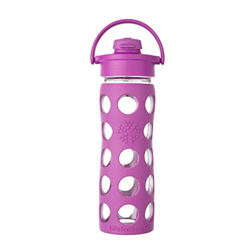 Lifefactory 16-Ounce BPA-Free Glass Water Bottle with Flip Cap and Protective Silicone Sleeve, Huckleberry