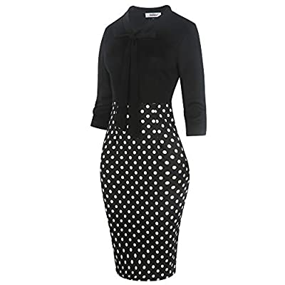 Sakaly Women's Patchwork Dot Floral Printed Bow V-Neck Sheath Pencil Midi Dress SK299 at Women's Clothing store