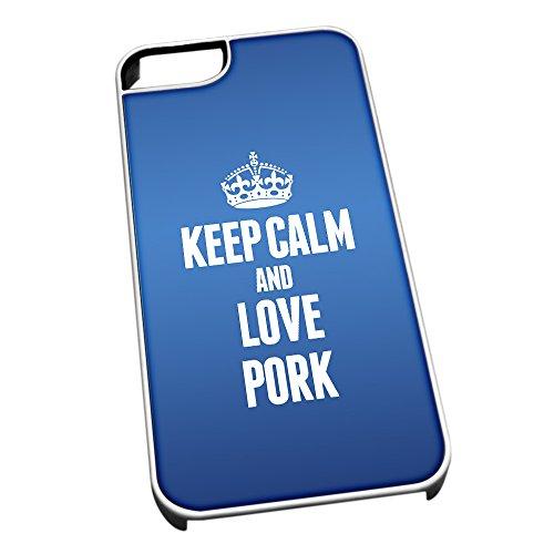Bianco cover per iPhone 5/5S, blu 1412Keep Calm and Love Pork