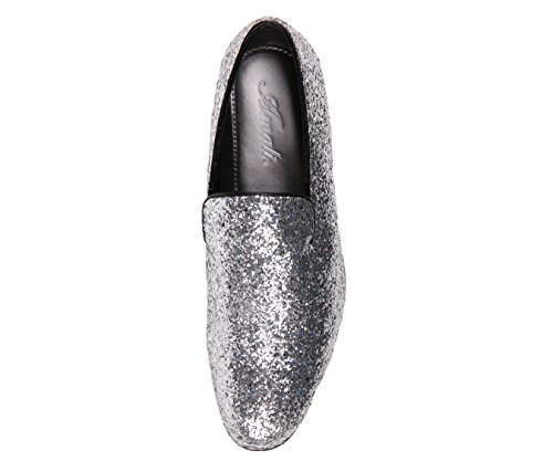 Smoking Da Uomo Metallico Scintillante Scintillante Smoking Slip On Smoking Slipper Dress Scarpa Argento
