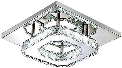 PopHMN Lámpara De Techo De Cristal Moderna, Lámpara Led De Pasillo Con Base De Acero Inoxidable 2 Tipos Para Balcón De Porche De Pasillo (Blanco Frío)