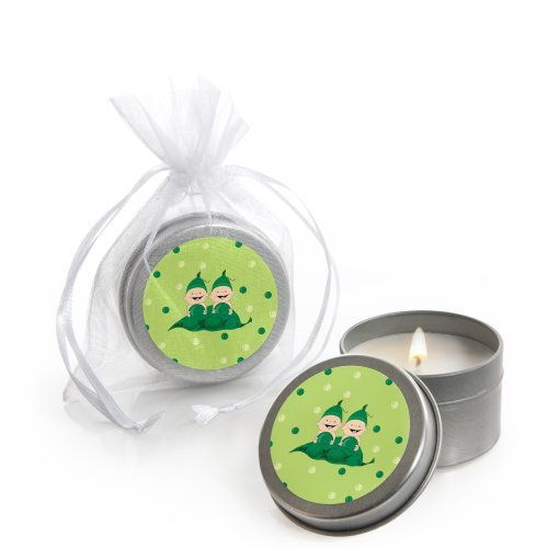 Twins Two Peas in a Pod - Candle Tin Baby Shower Favors - Set of 12