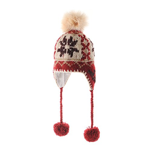 WITHMOONS Knit Fleece Fairs Isle Nordic Ear Flap Pom Beanie Hat CR7498 (Red)
