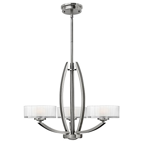 (Hinkley 3873BN Transitional Three Light Chandelier from Meridian collection in Pwt, Nckl, B/S, Slvr.finish,)
