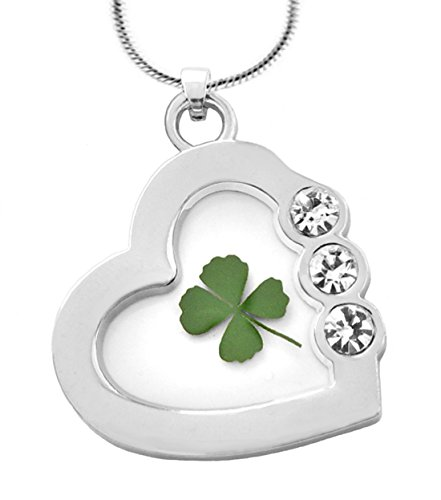 Lucky Shamrock Pendant - Real 4-leaf Clover Dried Shamrock Pendant Lucky Charm Glass Crystal Heart Irish Sterling Plated Necklace