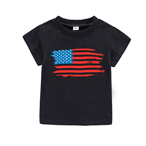 WINZIK 4th of July Baby Boy Girl Bodysuit Shirt Outfit American Flag Romper Jumpsuit Infant Kids Patriotic Clothing (Tag 90 for 9-12 Months, Black Shirt-USA Flag)