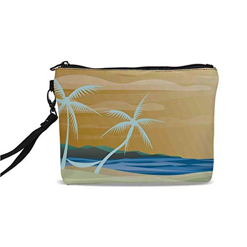 (Tropical Simple Cosmetic Bag,Illustration of Hammock in the Tropical Sandy Beach with Exotic Color Ocean Print Decorative for Women,9