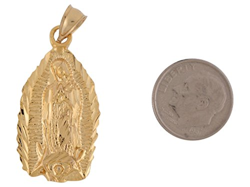10K Or jaune Lady Guadalupe Pendentif religieux Vierge Marie