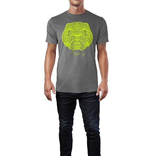 SINUS ART ® Hundekopf im Ethno Stil Herren T-Shirts in Grau Charocoal Fun Shirt mit tollen Aufdruck