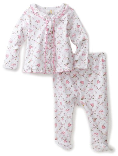 ABSORBA Baby-Girls Newborn Butterfly Print Two Piece Footed Pant Set