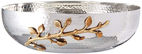 Elegance Golden Vine Hammered Salad Bowl, 12-Inch, Silver/Gold ()