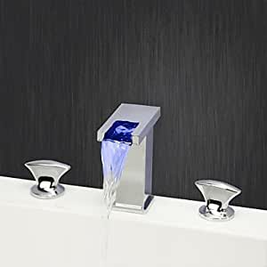 QFL Contemporáneos amplia LED/cascadas y válvula de cerámica del cromo dos manija baño grifo del fregadero con tres agujeros