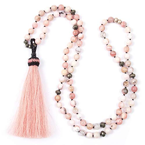 Pink Horse Hair Tassel Pendant on Peruvian Opals and Pyrite Necklace - 35.5 Inches Long Handmade Necklace by Miller Mae ()