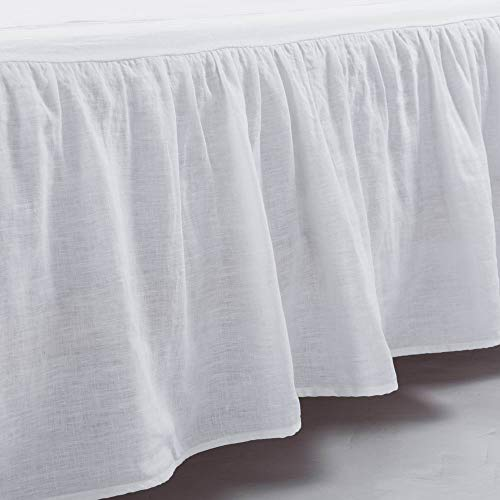 meadow park Washed French Linen Bed Skirt, Dust Ruffle, King Size, Super Soft, Ruffle Style, White Color