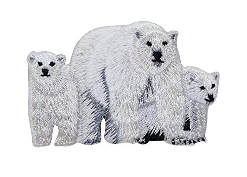- Polar Bear Family - Mother Bear/Two Cubs - Iron On Embroidered Applique Patch