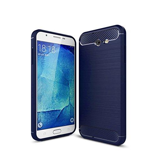 Funda Samsung Galaxy J3 Prime,Funda Fibra de carbono Alta Calidad Anti-Rasguño y Resistente Huellas Dactilares Totalmente Protectora Caso de Cuero Cover Case Adecuado para el Samsung Galaxy J3 Prime C