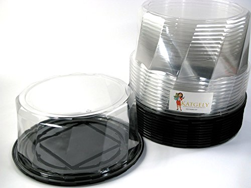 Katgely Plastic Cake Containers for 9 Inch Cake (Pack of 12)