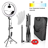 Emart 18 inch Bi-color LED Ring Light with Stand, 480LED Dimmable & Color Temperature Adjustable Makeup Circle Lighting Kit for Photography, YouTube Video Shooting, iPhone Selfie – Standing Ring Light
