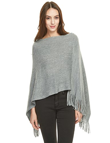 Ferand Women's Soft Knit Poncho Sweater, Elegant Fringe Cape Shawl in Multi-Way Neck Style, Dark Grey (Poncho Looking Sweaters)