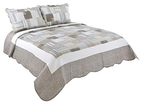 Marina Decoration Rich Printed 3 Pieces Luxury Quilt Set with 2 Quilted Shams, Taupe Dot Stripes Plaid Pattern, Taupe and White Color, King Size