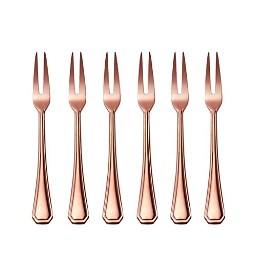 Onlycooker 6-inch 6 Piece Meat Fork Flatware Silverware Set Service for 6 Stainless Steel Cutlery Dishwasher Safe (Rose (Meat Fork Set)