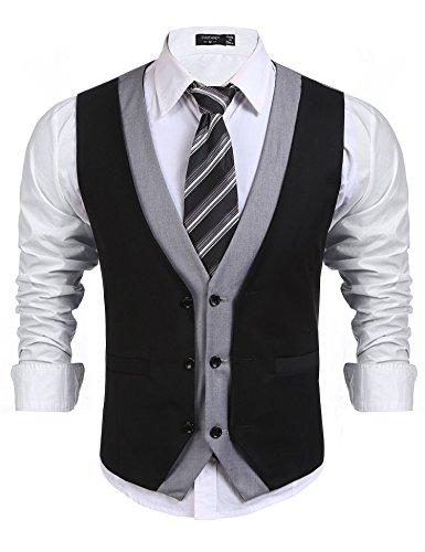 Coofandy Dress Suit Layered Vest Slim Fit V Neck Patchwork Business Vest Waistcoat