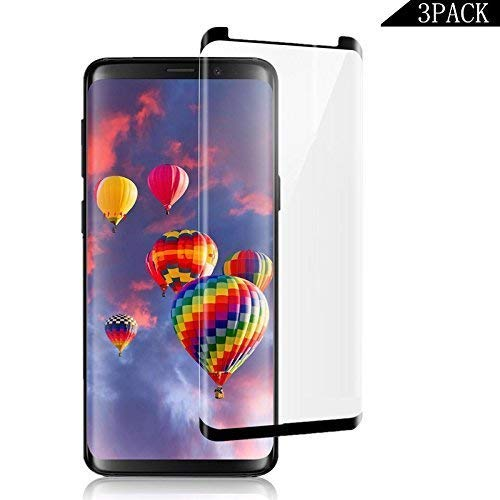 [3-Pack] Compatible Galaxy S9, EcoPestuGo [Bubble Free ][Easy Installation] 3D PET HD Screen Protector Film Compatible Samsung Galaxy S9 - Black