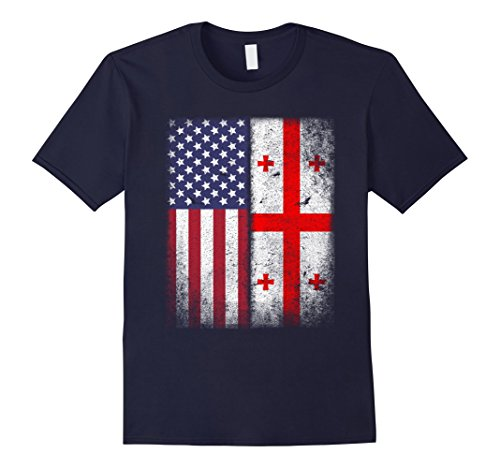 Mens American Georgian Flag T-shirt Georgia Republic Country Medium Navy