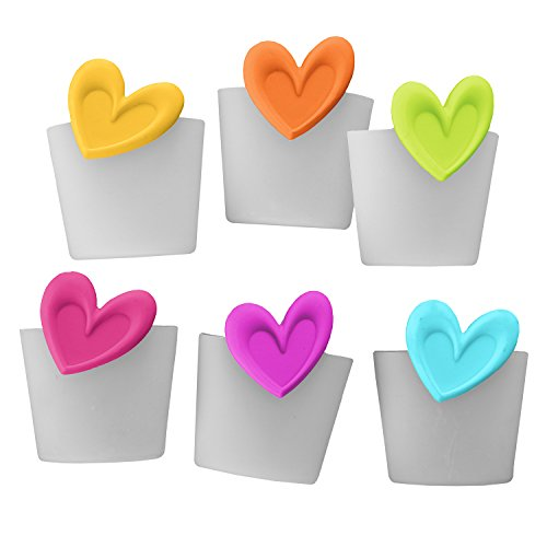 Teabloom Heart Shaped Tea Infusers in 6-Pack Value Set - FDA Approved Silicone with Colorful Heart Design - Great Gift for Tea Lovers - Gift Wrapping Available (Shaped Tea Infuser)