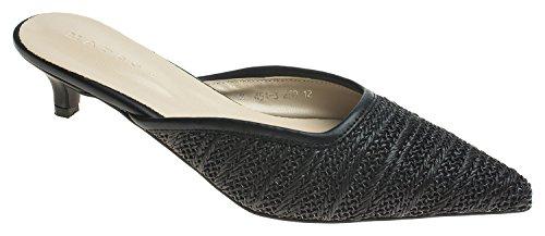 AnnaKastle Womens Pointy Toe Natural Woven Kitten Heel Mule Slide Sandal (Kitten Mule)