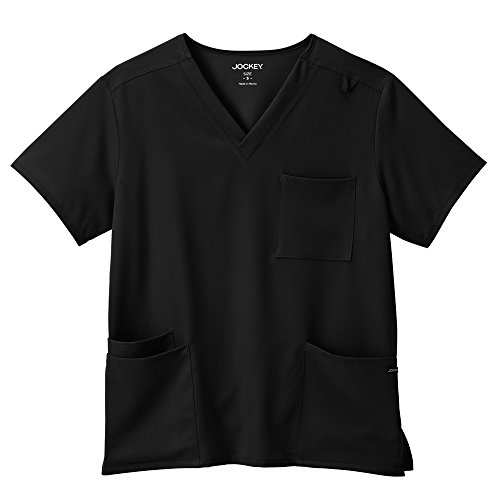 Classic Fit Collection by Jockey Unisex V-Neck Solid Scrub Top X-Large Black Collection V-neck Scrub Top