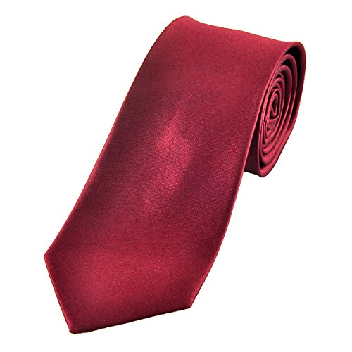 100% Silk Mens Ties Solid Necktie by Murong Jun | Great for a Wedding or Tuxedo(11 Colors) (Bordeaux - Bordeaux The Color