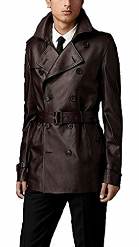 Leather Hubb Men's Brown Lambskin Classic Leather Long/Trench Coat (Medium) ()