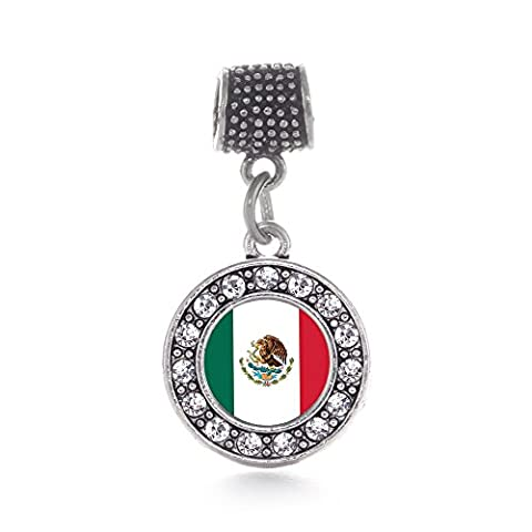 Inspired Silver Mexican Flag Circle Memory Charm Fits Pandora Bracelets & Compatible with Most Major Brands such as Chamilia, Murano, Troll, Biagi and other European Bracelets