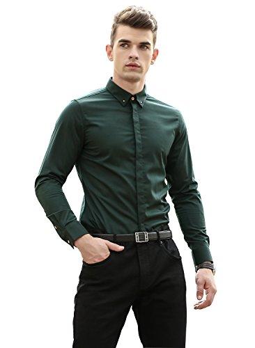 D&g Mens Clothing (RubySports Men Clothing RS Men's Business Casual Long Sleeve Slim Fit Button Down Dress Shirts 32 D G XL)
